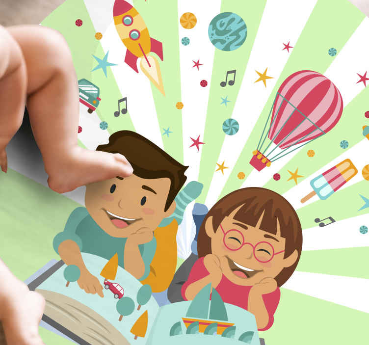 TenVinilo. Alfombra vinilo infantil fantasía educativa. Increíble alfombra vinilo infantil con niños leyendo libro lleno de fantasía. Diseño redondo que quedará magnífico ¡Envío exprés!