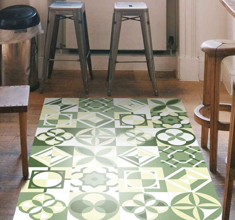 Tenstickers. Grønn firkantet fliseflisematte. Det mest fantastiske geometriske mønsterteppet med et vakkert grønt flislagt utseende du finner! Ekstremt enkel å påføre og vedlikeholde.