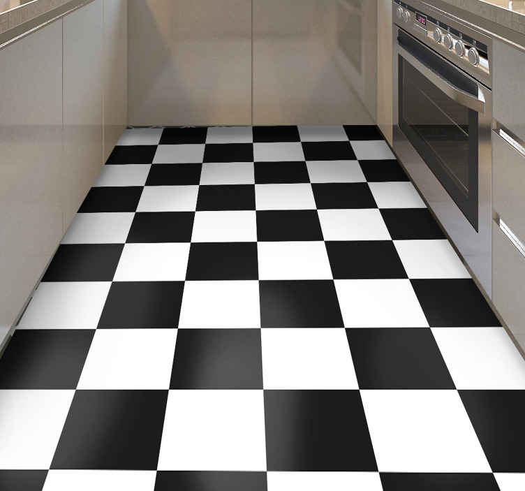 TenStickers. checkerboard black and white tile mat. This geometric pattern rug will make the perfect addition to your home! Sign up to our website today for 10% off your first order.