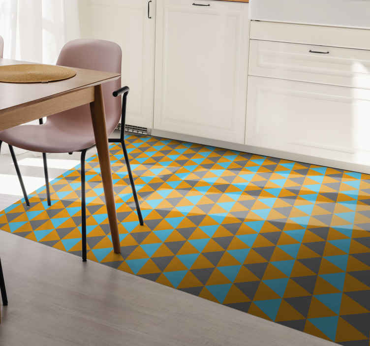 TenStickers. Orange, blue and grey triangles geometric carpets. Get your symmetrical and geometrical vinyl rug today for an easy decoration of your kitchen floor. Buy it now easily on our website!