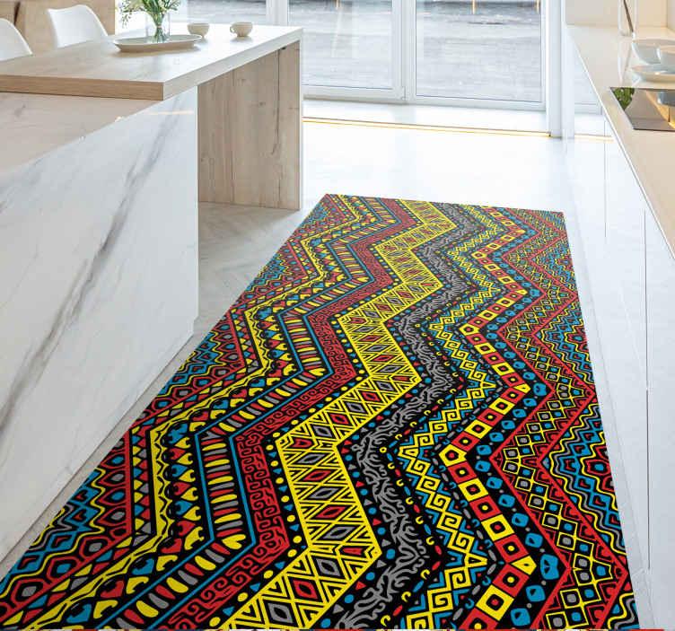 TenStickers. Dywan winylowy Plemienne kolory. Kolorowy dywan winylowy z niesamowitym plemiennym wzorem w wielu jasnych kolorach. Wyjątkowo trwała materiał.