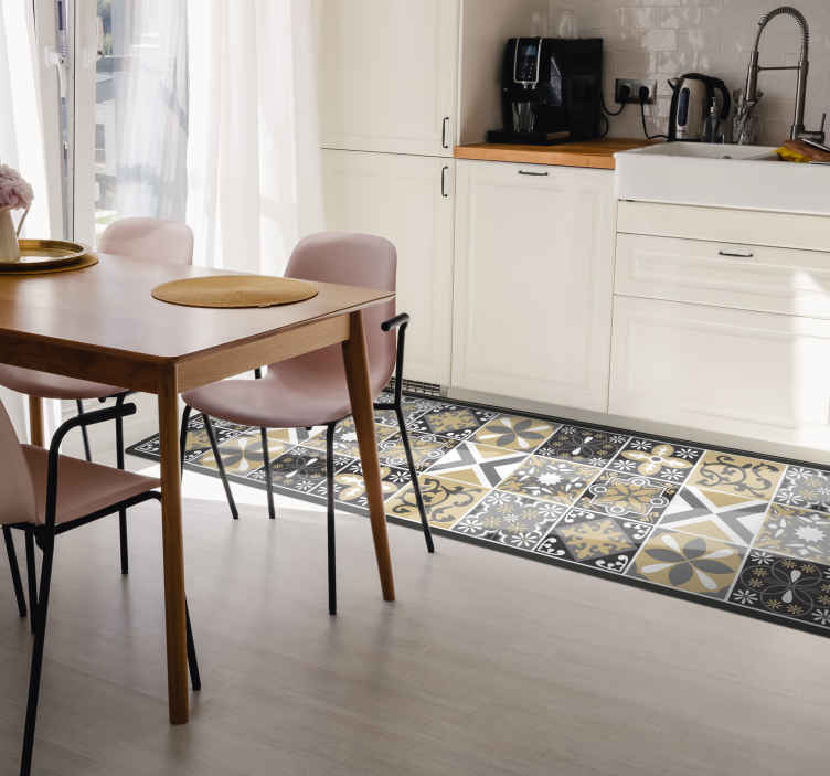 TenStickers. Gold and Silver patch tiles kitchen flooring. Add this Rectangule shape rug with Gold and Silver patch tiles to your basket, this will amaze you familly and friend . Order now ! Home delivery !