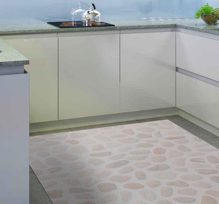 TenStickers. Tapete de vinil de cozinha de pedra clara. Tapete de vinil de cozinha que apresenta um padrão brilhante de pedras em vários tons claros de marrom. Material de vinil de alta qualidade.