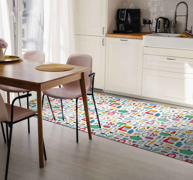 TenStickers. Multi-colour Kitchen Pattern vinyl rug. Kitchen vinyl rug which  features various kitchen utensils such as scales, oven gloves and mixers in brilliant bright colours.
