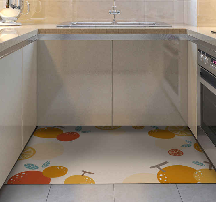 TenStickers. Dywan winylowy do kuchni pomarańczowe owoce. Dywan winylowy z pomarańczami. Wzór przedstawia różne pomarańczowe owoce na białym tle. Idealna dekoracja do Twojej kuchni.
