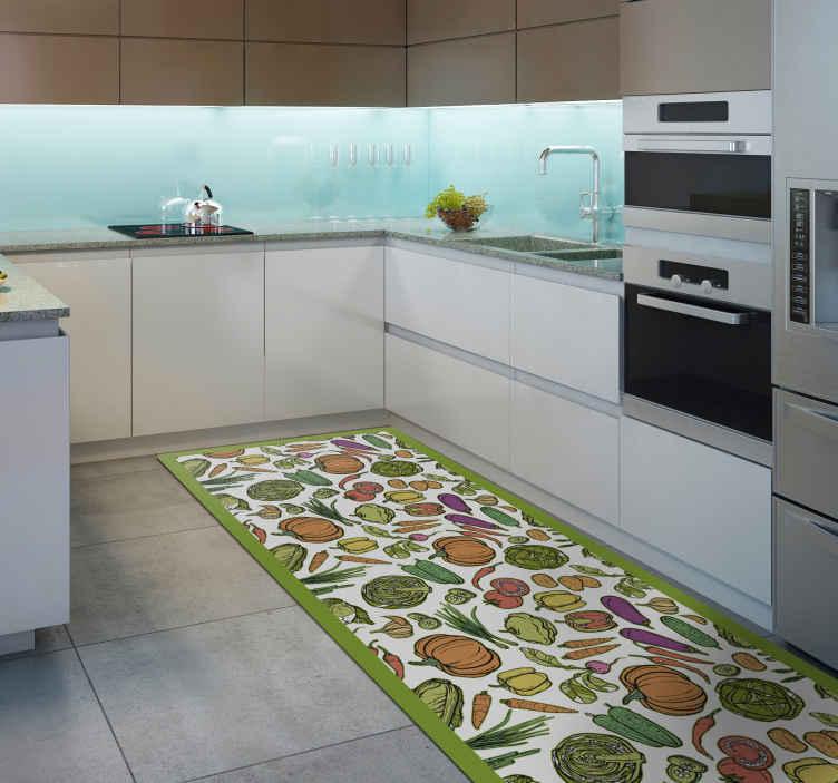 TenStickers. Dywan winylowy do kuchni z owoców i warzyw. Dywan winylowy do kuchni z różnymi obrazami owoców i warzyw, takich jak dynia, marchew, sałata i inne. Wybierz swój rozmiar.