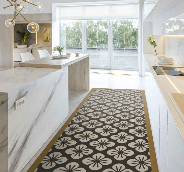 TenVinilo. Alfombra vinilo cocina patrón flores. Esta alfombra vinilo cocina con diseño de rosas sobre fondo negro será ideal para que decores tu casa y le des un toque de elegancia