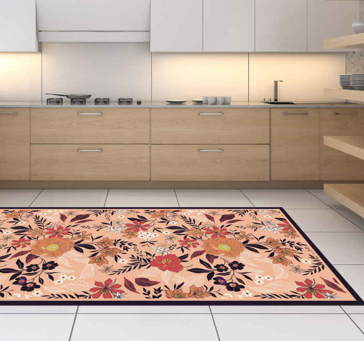 TenStickers. Roses and flours flower rug. Carpet with elegant roses and flowers. This decorative object is very subtle in color and will certainly suit any room in your home