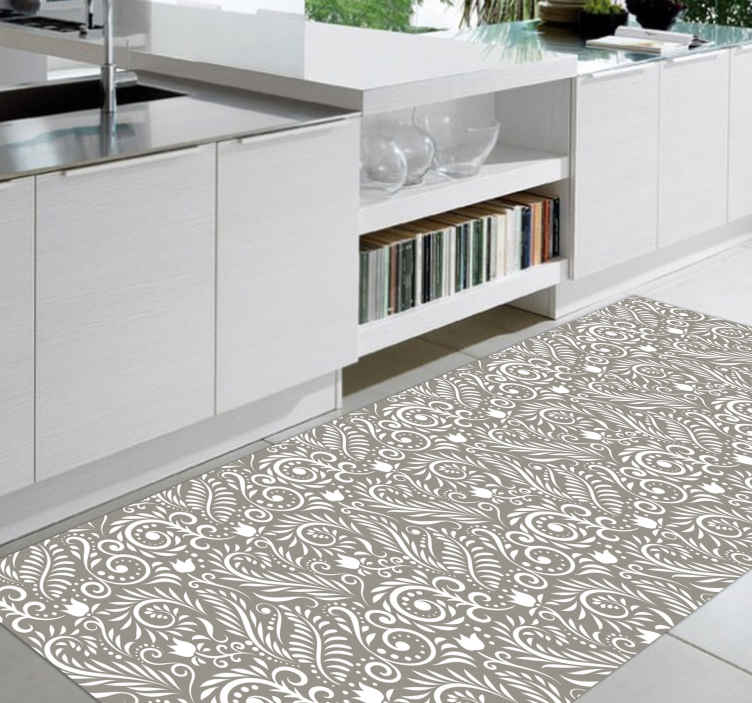 TenStickers. Ruskin grey sheet contemporary rugs. Ruskin grey sheet modern rug with black, white and gray design full of modernity will give a touch of elegance to your kitchen.