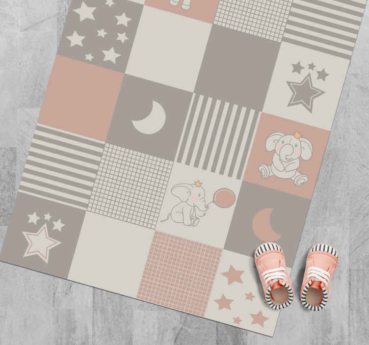 TenStickers. Elephant motifs with nordic tiles kid vinyl carpet. Vinyl rug for kids with a beautiful design of elephants and stars in pink, purple and blue colors perfect for decorating the room of your child.