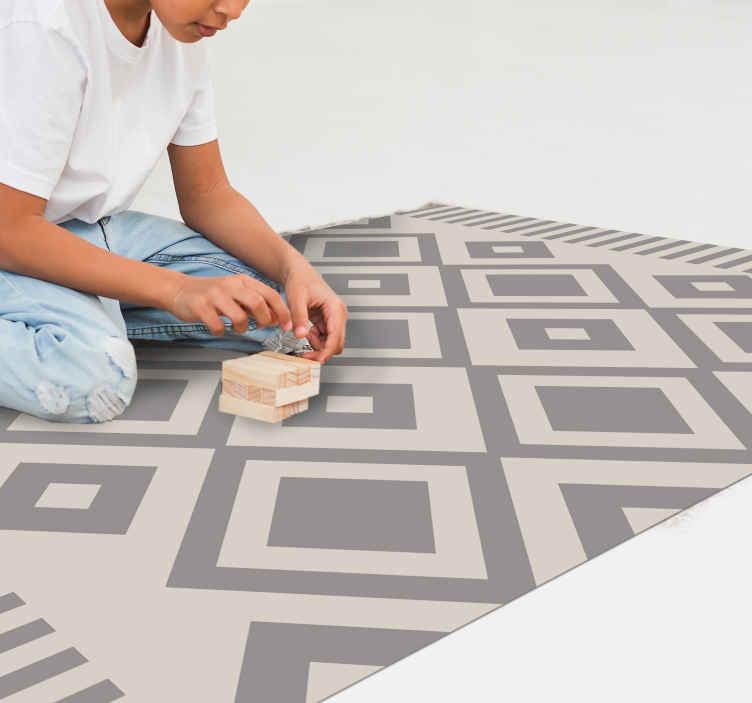 TenStickers. Dywan winylowy Szare romby. Różne geometryczne dywaniki winylowe w szare kwadraty do dekoracji przestrzeni domowej. Nadaje się do dekoracji salonu, sypialni i innych przestrzeni.