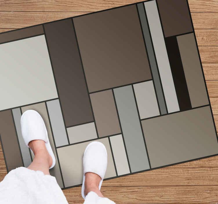 TenStickers. Vinylteppich Wohnzimmer Braune quadrate. Geometrische vinylteppiche mit braunen quadraten für zu Hause und andere räume. Sie können diesen teppich als eingangsteppich, badezimmerbodenteppich usw. Platzieren.