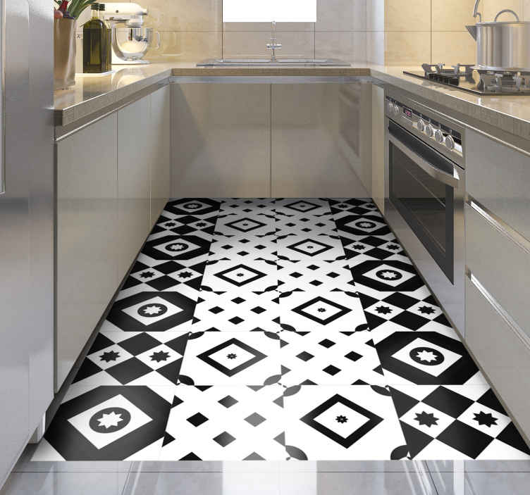 TenStickers. Patchwork black and white contemporary rugs. Wonderful decorative original vinyl rugs in black and white  to give a nice touch and transformation to your space. Home delivery!