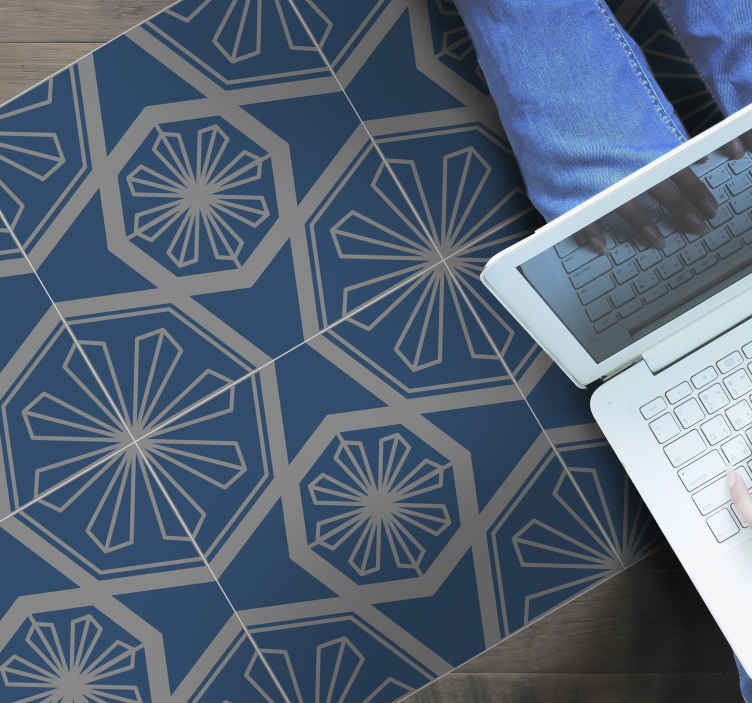 TenStickers. Blue gray cement design contemporary rugs. Beautiful blue vinyl carpet for kitchen and other floor space in the home. The carpet also fit to decorate a bedroom and other areas in a house.