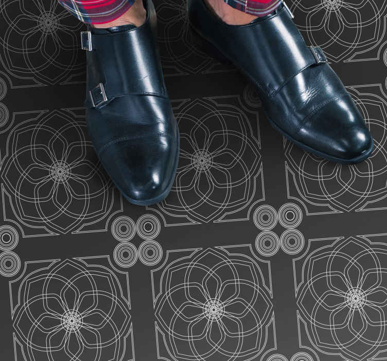 TenVinilo. Alfombra vinilo moderna azulejos de cemento. Alfombra vinilo moderna cuadrada de cemento gris para el hogar y la oficina. Te encantará este diseño original gris ¡Envío exprés!