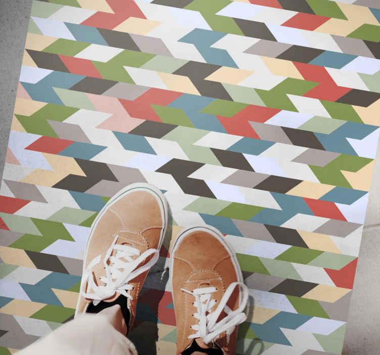 TenVinilo. Alfombra vinilo geométrica azulejos coloridos. Su sala de estar y se transformarán en gran medida con esta hermosa y colorida alfombra vinílica moderna con azulejos rectangulares