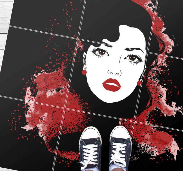 TenVinilo. Alfombras vinilo salón de mujer moderna. Alfombra vinílica moderna impresa con una ilustración de pintura de una hermosa dama para salón o dormitorio ¡Envío exprés!