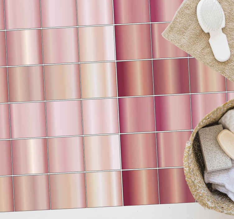 TenVinilo. Alfombra vinílica mosaico rosa de acero. Alfombra vinílica mosaico de color rosa para colocar en el piso de un baño o cocina. Elige las medidas ¡Descuentos disponibles!