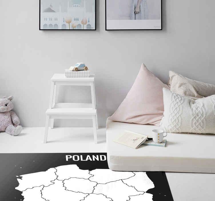 TenStickers. Dywan winylowy Biała mapa Polski. Chcesz udekorować swój pokój tą białą mapą Polski? Ten dywan winylowy mapa Polski jest idealny dla Ciebie! Zawiera super mapę.