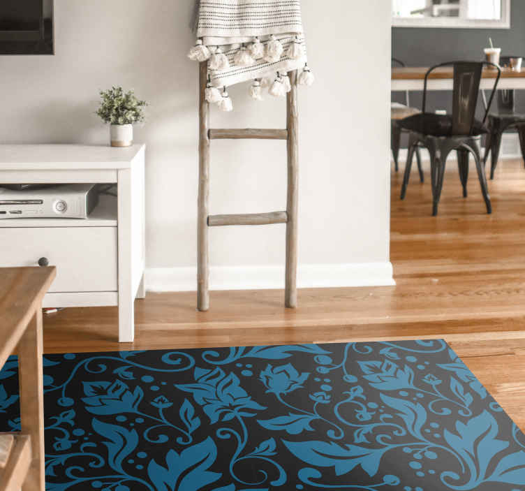 TenStickers. Black and Blue Vintage Home Office Vinyl Rug. Ornamental vinyl rug which features a stunning vintage pattern of  blue leaves and swirls on a black background. High quality.