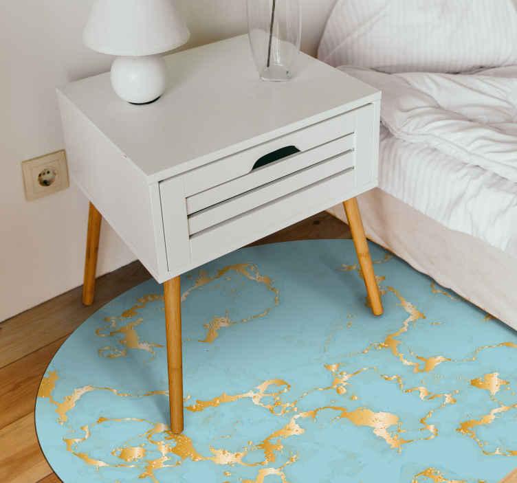 TenVinilo. Alfombra vinilo despacho dorada y esmeralda. Alfombra vinílica redonda con efecto mármol en colores azul y dorado perfecta para darle un toque clásico a tu hogar.