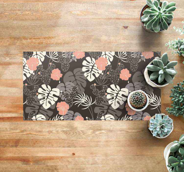 TenStickers. Grey Jungle flower rug. Flower and leaf vinyl rug which features a pattern of various type of plants including cacti and Monstera. High quality.