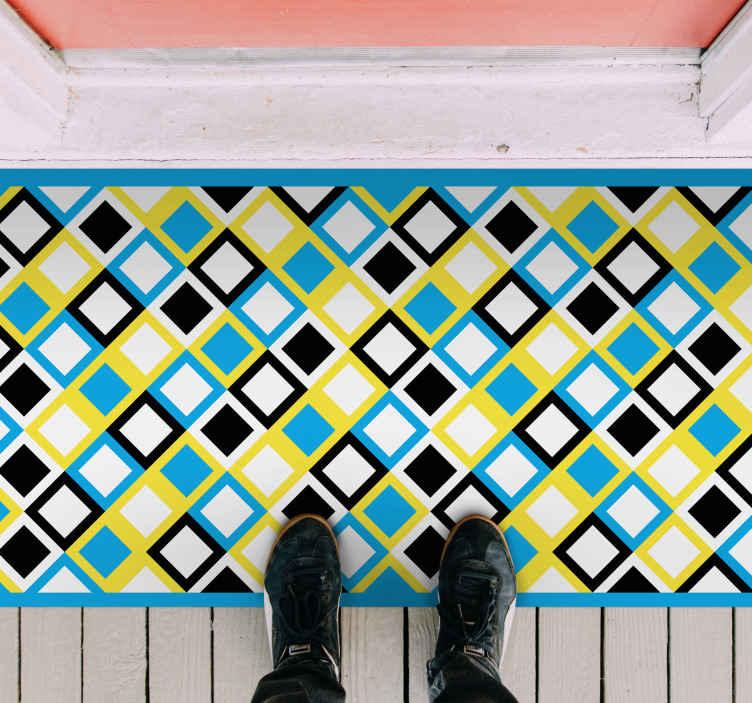 TenStickers. Dywan winylowy Kolorowy wzór kwadratów . Kolorowy wzór kwadratów geometryczny dywan winylowy odpowiedni do wejścia, łazienki i każdej innej wybranej przestrzeni w domu.