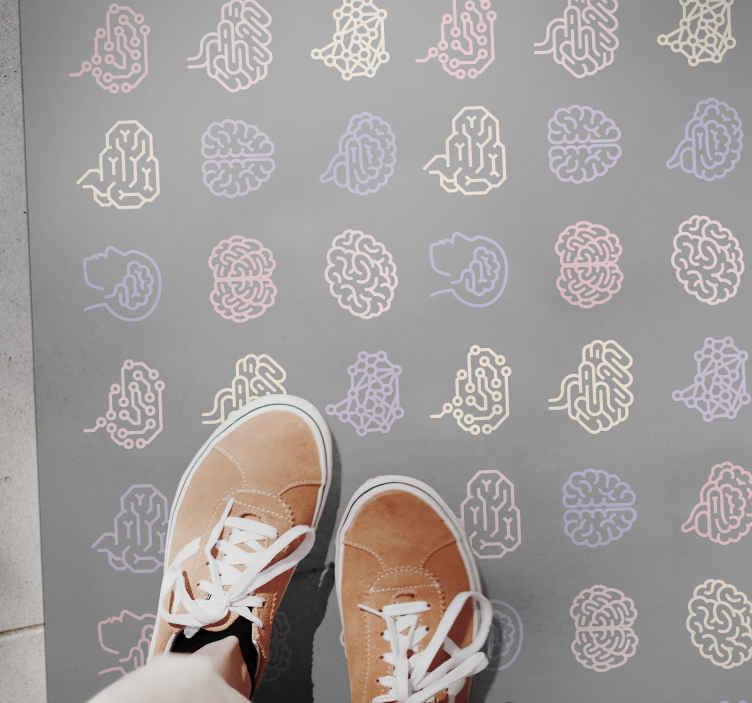 TenVinilo. Alfombra vinilo moderna cerebros tonos pastel. ¡Una impresionante alfombra vinilo moderna de colores pastel con temática cerebral que todos envidiarán! ¡Descuentos están disponibles!