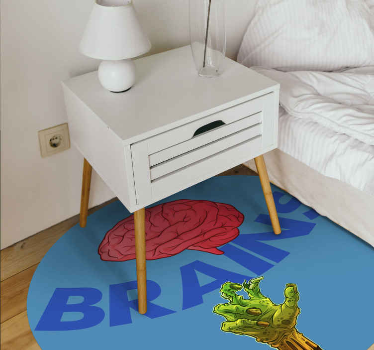 TenStickers. zombie brains teenage rugs for bedrooms. A text vinyl rug that will look great on the floor of a zombie lover! Choose your size and get decorating your home today.