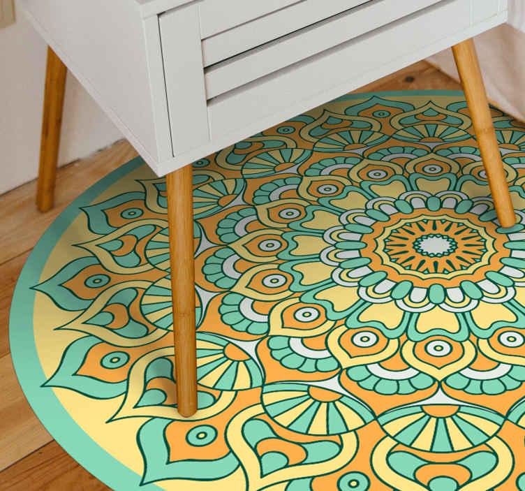 TenStickers. Mandala Orange and Teal mandala mat. Vinyl rug with yellow mandala. The pattern presents a yellow mandala in a circle-shaped vinyl. It is made of high quality vinyl.