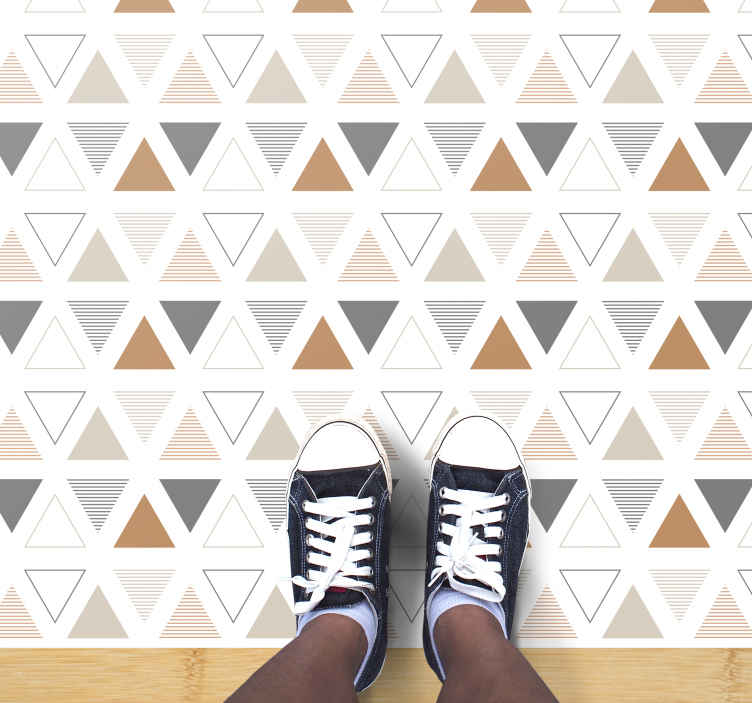 TenStickers. Nordic Triangle geometric carpets. Nordic triangle vinyl rug which features a pattern of triangles with different colours and patterns inside of them. Anti-bubble vinyl.
