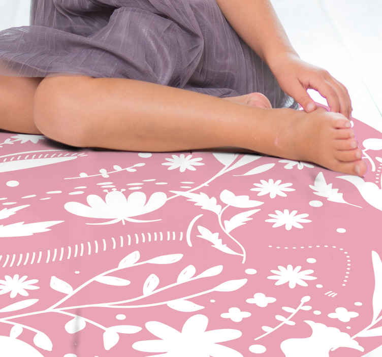 TenStickers. Pink Leaves and Flowers kids vinyl carpet. Kids vinyl rug which features a lovely pattern of leaves and flowers in white on a light pink background. Sign up for 10% off.