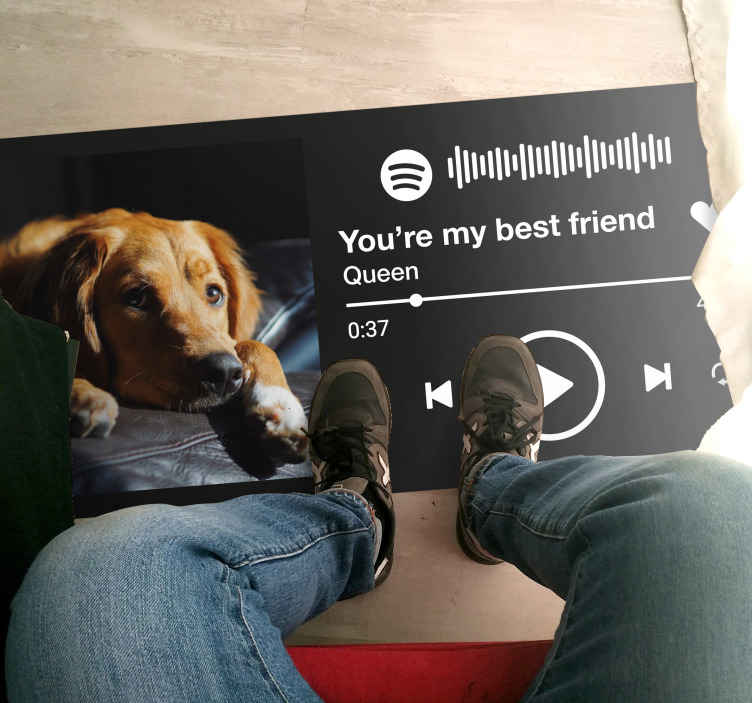 TenStickers. Spotify music with text and image personalised vinyl rug. You can now decorate your floor space with our personalized Spotify music playing vinyl carpet. Certainly a flooring vinyl carpet for music lovers.