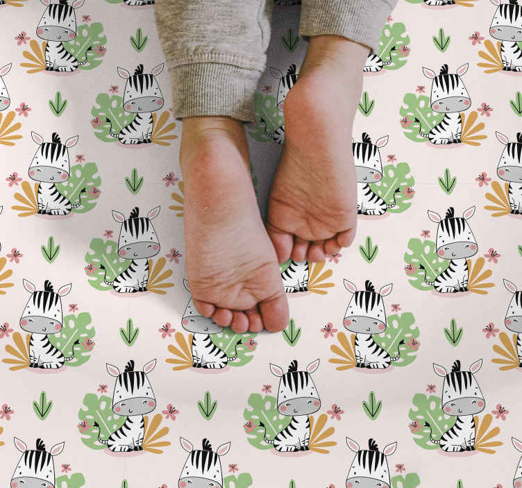 TenStickers. Beautiful Zebra for kids kids vinyl carpet. Cute zebra and plants vinyl rug with a light background to make your kid's room look amazing. Your child will not stop smiling.