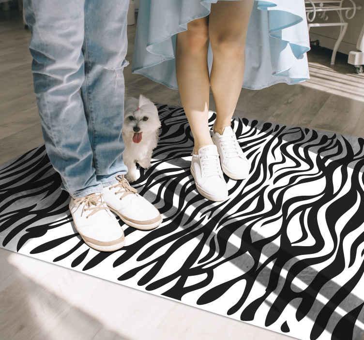 TenStickers. Tapete zebra com estampa animal. Tapete de vinil preto e branco bonito e duradouro com estampa de zebra adequado para qualquer espaço. é original, duradouro e fácil de manter.