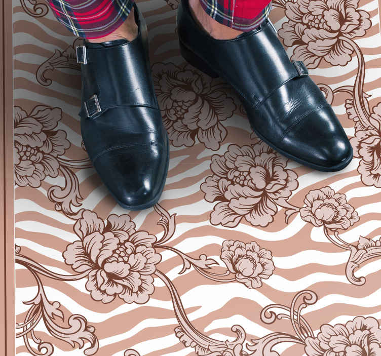TenStickers. Zebra print and ornamental coral flower rug. Beautiful zebra print and floral vinyl carpet suitable to decorate any space in the home. It is original, durable and really easy to clean.