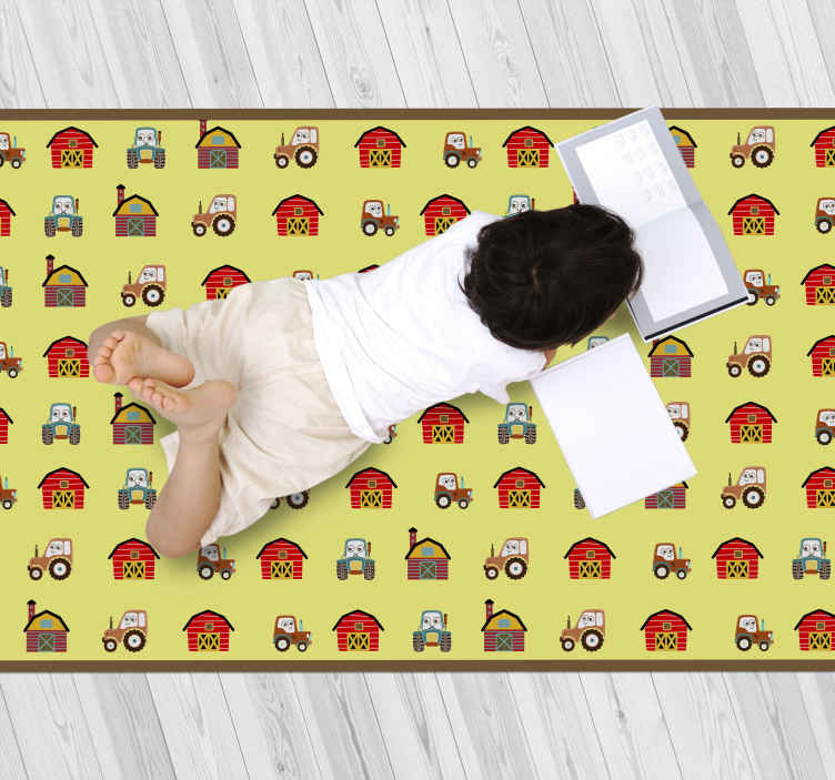 TenStickers. Tractor and farm house kids vinyl carpet. Give your child a beautiful decoration today with this children tractor vinyl rug. Can easily be cleaned and sweeped. Anti-slip and anti-allergic!