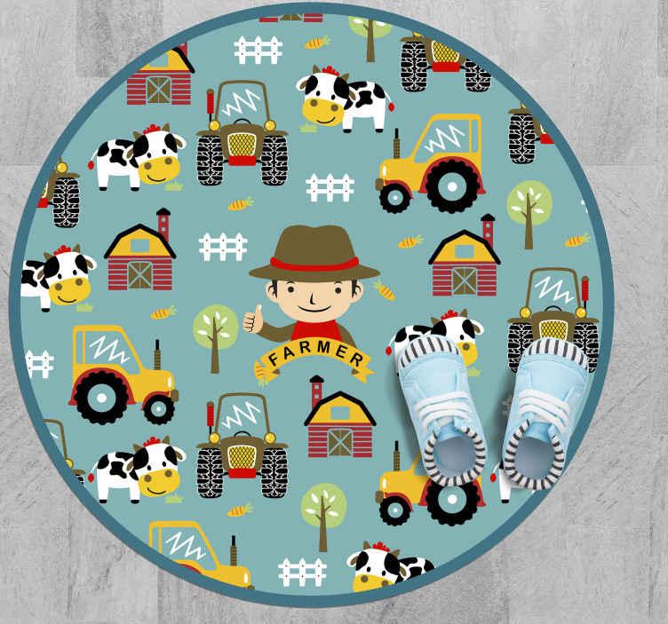 TenVinilo. Alfombra vinilo animales de granja. Alfombra vinilo animales que contiene varios dibujos que ilustran, tractores, casa de campo, granjero, animales, productos, etc ¡Envío exprés!