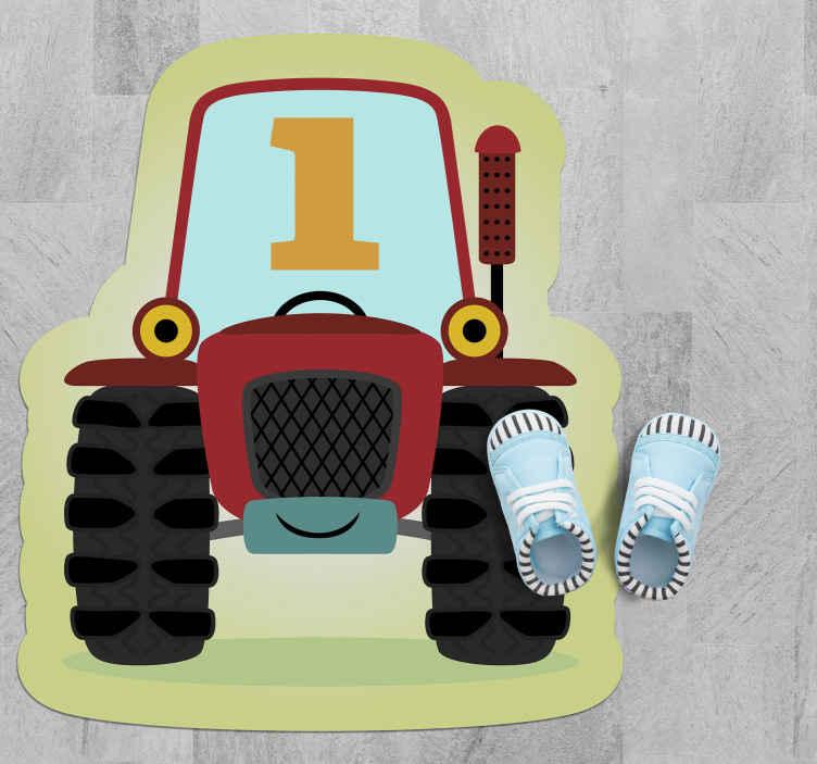 TenVinilo. Alfombra vinilo infantil tractor número 1. ¡Pon una sonrisa en la boca de tu hijo con esta alfombra vinilo infantil de granja de tractor hoy y hazlos felices! ¡Muy fácil de limpiar y barrer!