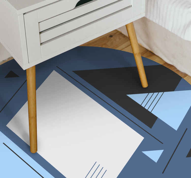 TenVinilo. Alfombra vinilo triángulos nórdicos azules. Alfombras vinílica geométrica de triángulos nórdicos azules adecuadas para el hogar, la oficina y otros espacios. Es fácil de mantener y duradera.