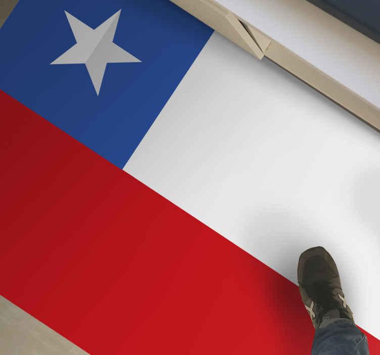 TenVinilo. Alfombra vinilo de Bandera Chile. Hermosa alfombra vinílica recibidor y bandera de Chile con material de la mejor calidad, duradera y disponible en cualquier tamaño.