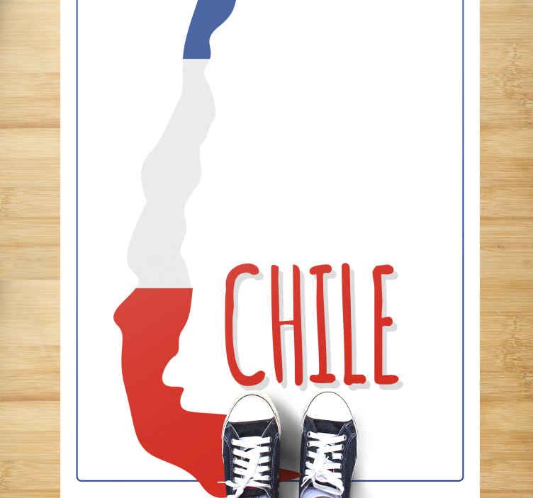 TenVinilo. Alfombra vinilo mapa Chile con bandera. Alfombrilla vinilo mapamundi rectangular para suelos para oficinas, hogar y otros lugares. Alfombra vinílica mapa de Chile con bandera