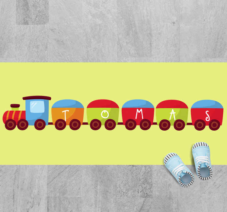 TenStickers. Train with name kids vinyl carpet. Lovely vinyl carpet idea for kid's room. The original carpet host design of a train and they would be happy to have this carpet on the bedroom floor.