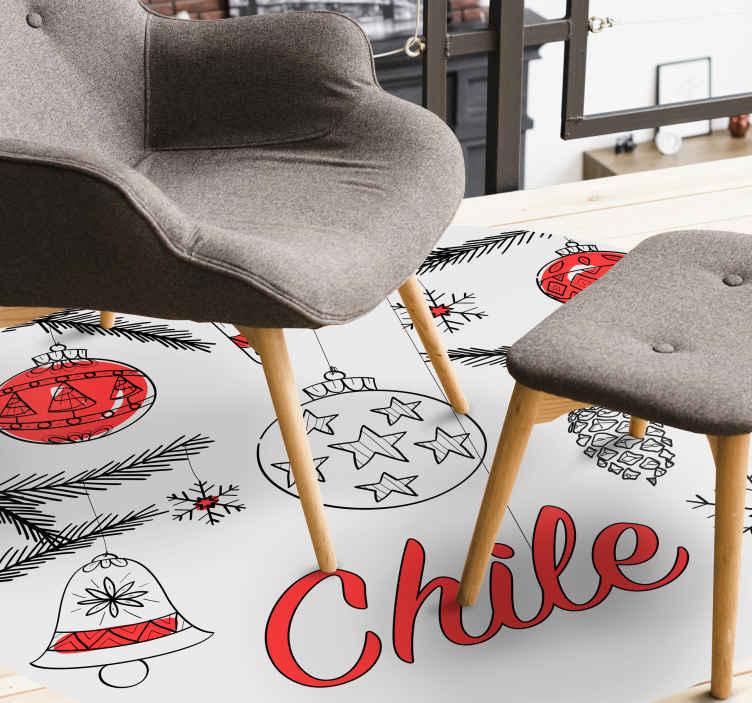 TenStickers. 圣诞节设计与智利国旗定制地毯. 一张惊人的圣诞乙烯基地毯,用来装饰房屋,享受圣诞节的节日气氛。它是原始,耐用且易于维护的。