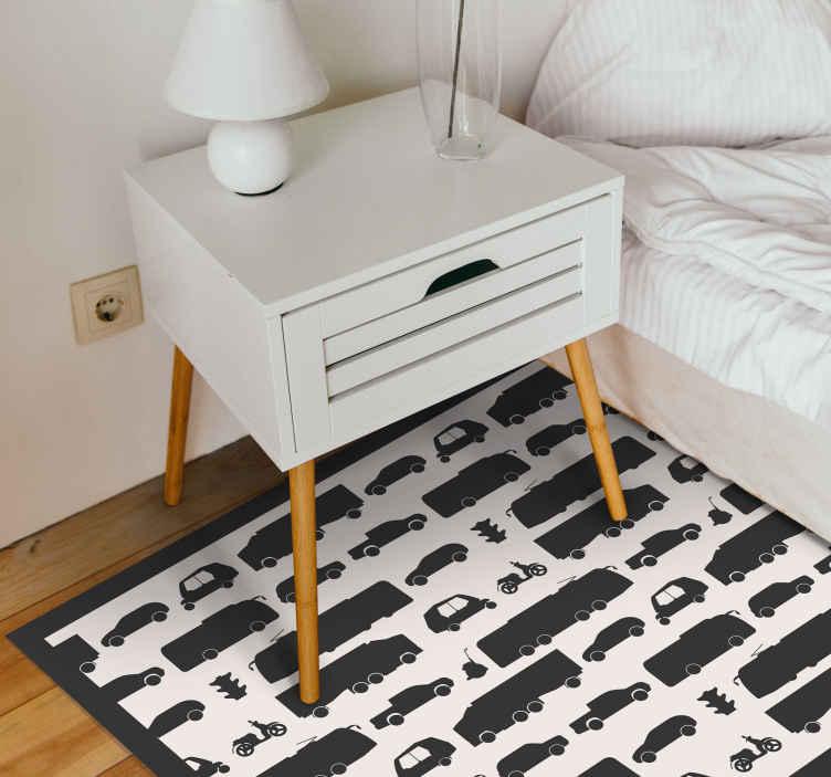 TenVinilo. Alfombra vinilo infantil patrón camiones. Esta original alfombra vinilo infantil cuadrada en blanco y negro encajaría en cualquier lugar de una casa. Apta para cualquier estancia