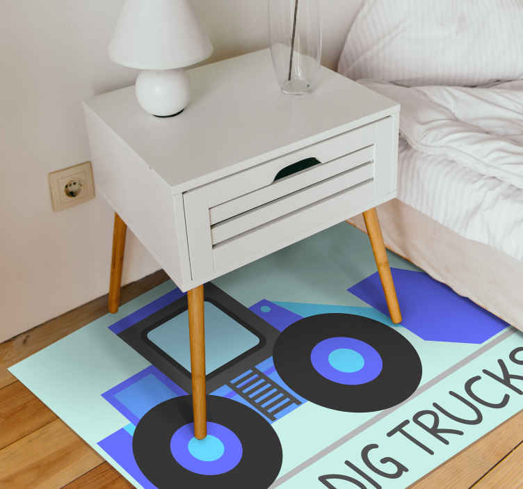 TenStickers. I dig Trucks kids vinyl carpet. Carpet for children tractor truck an interesting rug for the children's room. It is easy to clean and cannot be removed !