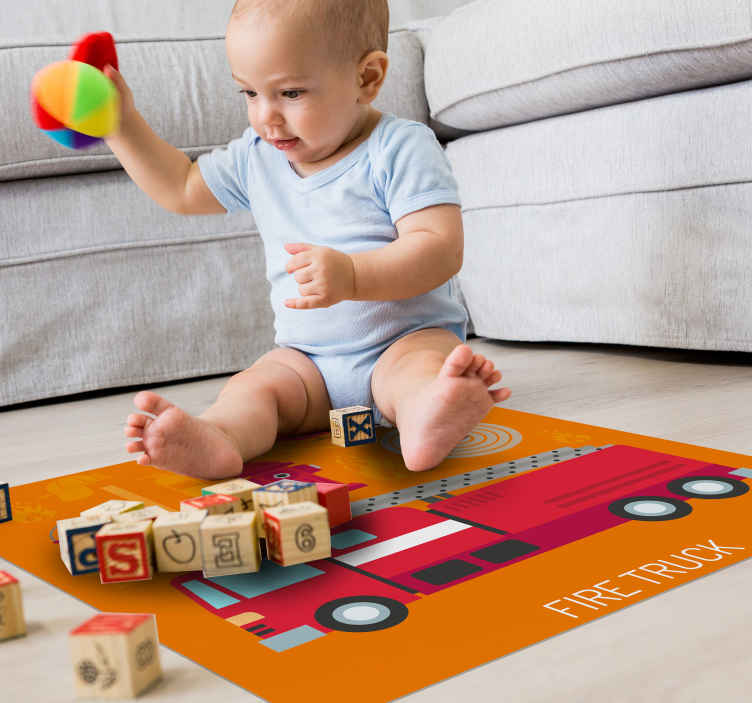 TenStickers. Red Fire Truck kids vinyl carpet. Easy to clean red fire truck  vinyl carpet for children bedroom and playroom. It is available in any size required and really easy to maintain.