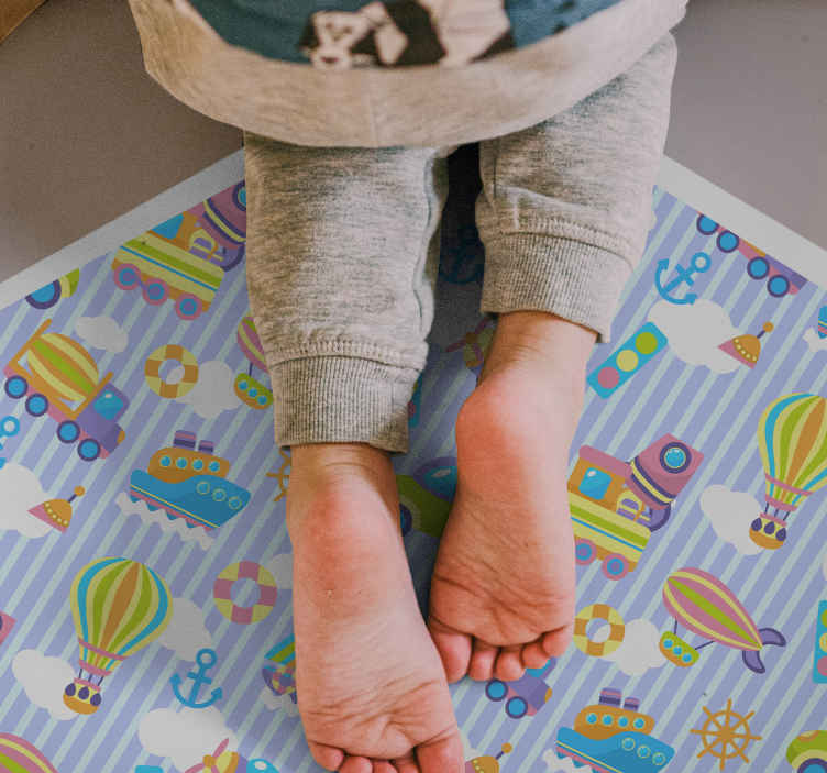TenStickers. Truck, plane and bus kids vinyl carpet. Transform completely the way your kid's bedroom appear with our original vinyl floor carpet for kids. It is durable an easy to maintain.