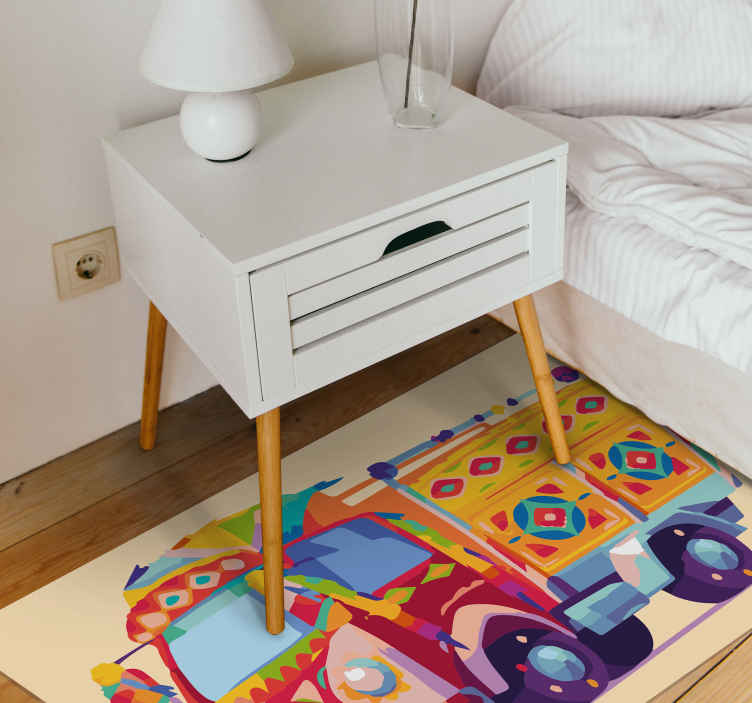TenStickers. Carnival Truck kids vinyl carpet. Fun and interesting carnival truck kids vinyl rug to decorate the room of a kid. It is original, durable and easy to clean.