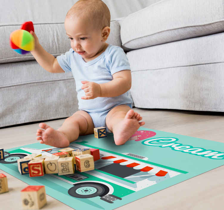 TenStickers. Ice cream truck kids vinyl carpet. A vinyl rug with ice cream truck design suitable for children bedroom, playroom and also can be placed on any other space of your desire.